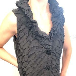 JOSEPH RIBKOFF| textured black long buttoned vest
